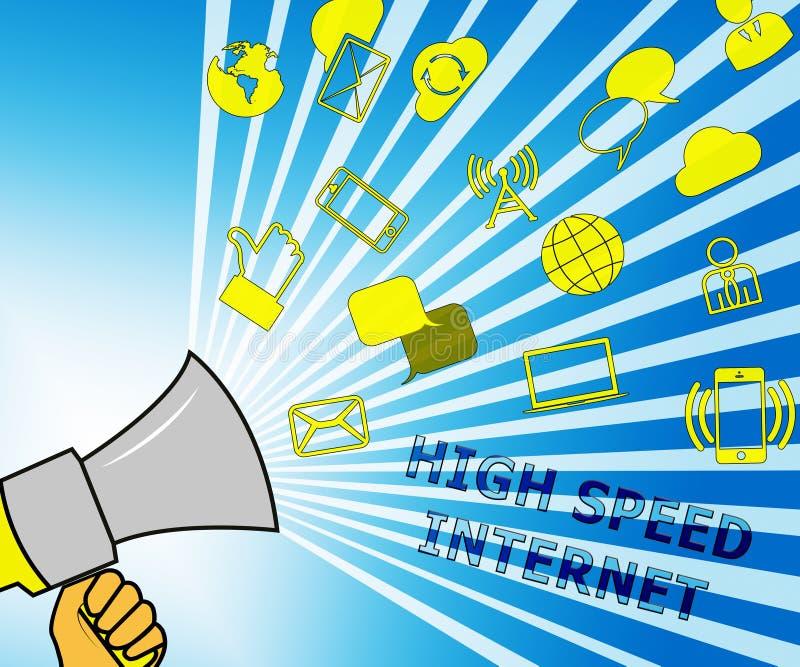 Internet de alta velocidad que representa el ejemplo de banda ancha 3d libre illustration