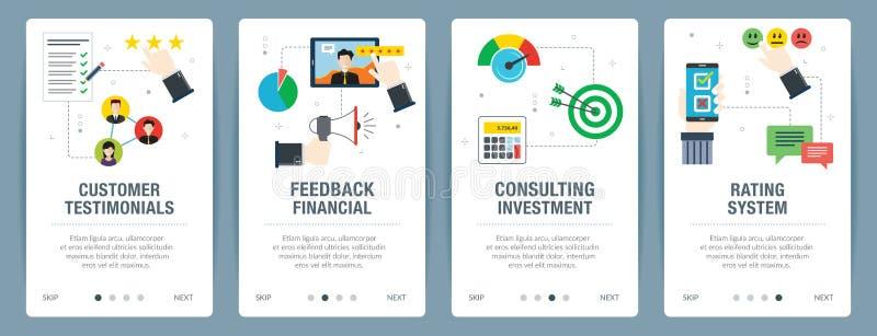 Internet-de bannerreeks klantenhuldeblijken, classificatie en koppelt financiële pictogrammen terug stock illustratie