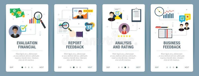 Internet-de bannerreeks van evaluatie, analyse, classificatie en koppelt in bedrijfspictogrammen terug stock illustratie