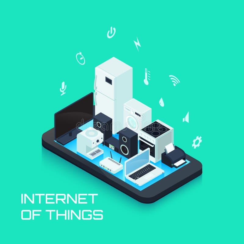 Internet de composition de conception de choses avec Smartphone illustration stock