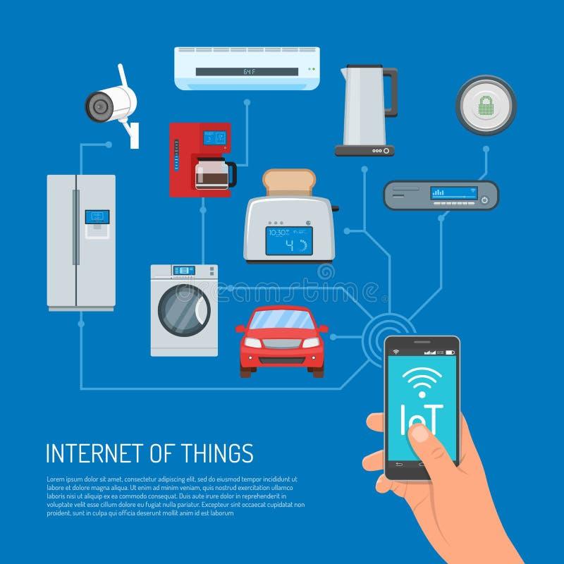 Internet de cosas vector el ejemplo del concepto en diseño plano stock de ilustración