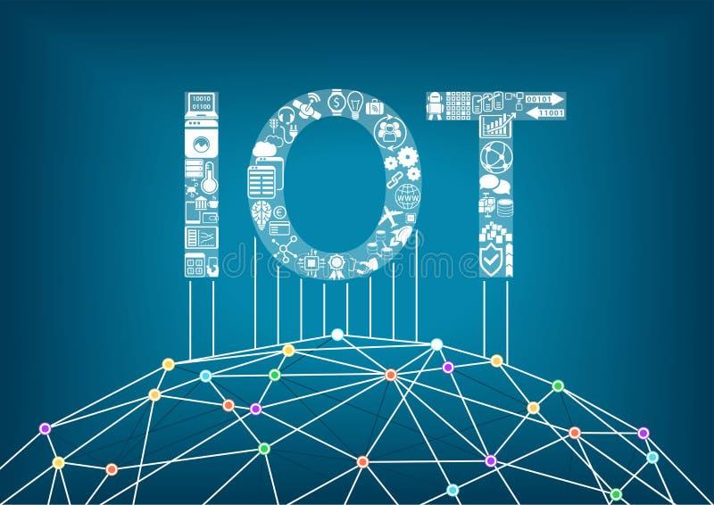 Internet de cosas y del concepto de IOT Conecte los dispositivos inalámbricos globales con uno a ilustración del vector