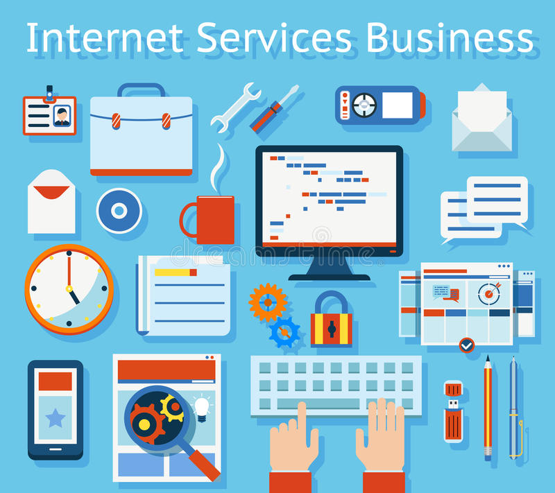 Internet-de Dienst Bedrijfsconcepten Grafisch Ontwerp stock illustratie