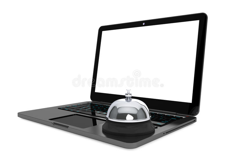 Internet-de Dienstconcept. Moderlaptop met de Dienstklok vector illustratie