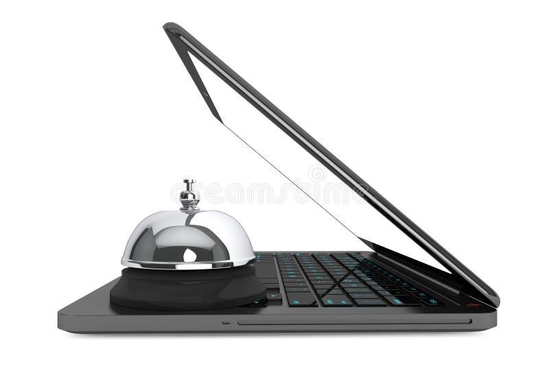Internet-de Dienstconcept. Moderlaptop met de Dienstklok royalty-vrije illustratie