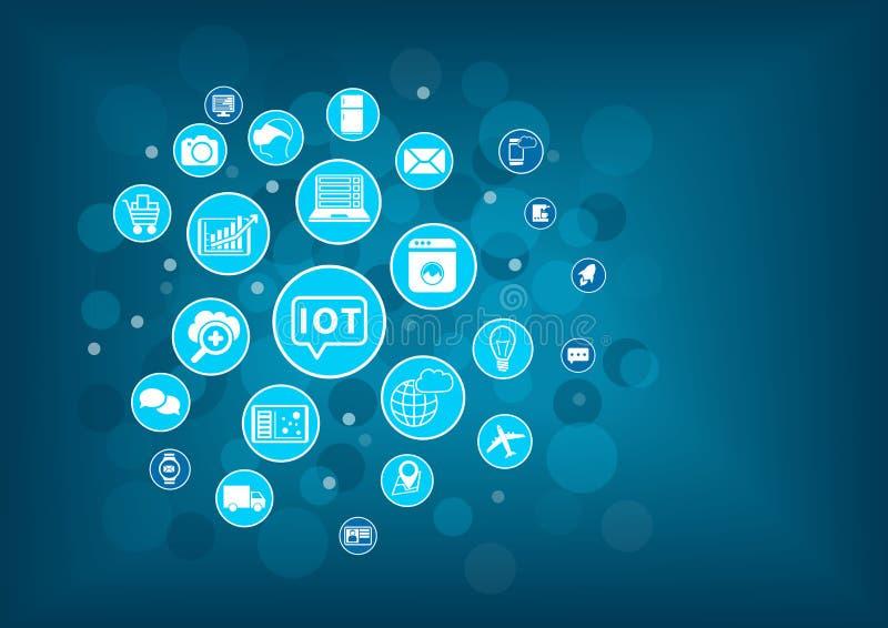 Internet de IOT del concepto de las cosas Fondo borroso con los iconos de objetos conectados libre illustration