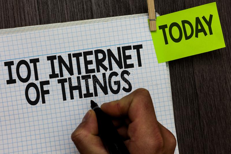 Internet de Iot do texto da escrita da palavra das coisas O conceito do negócio para a rede de dispositivos físicos envia e receb fotografia de stock royalty free