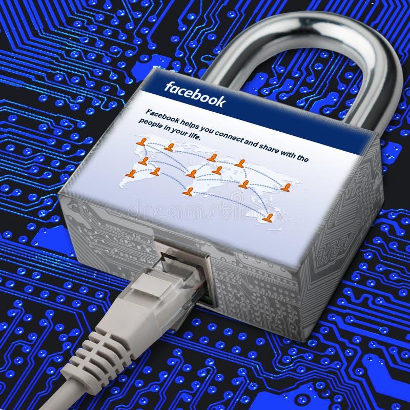 Internet-de kabel wordt verbonden met het kasteel waar het beeld de sociale netwerkhomepage facebook is Veiligheid in het sociale stock illustratie