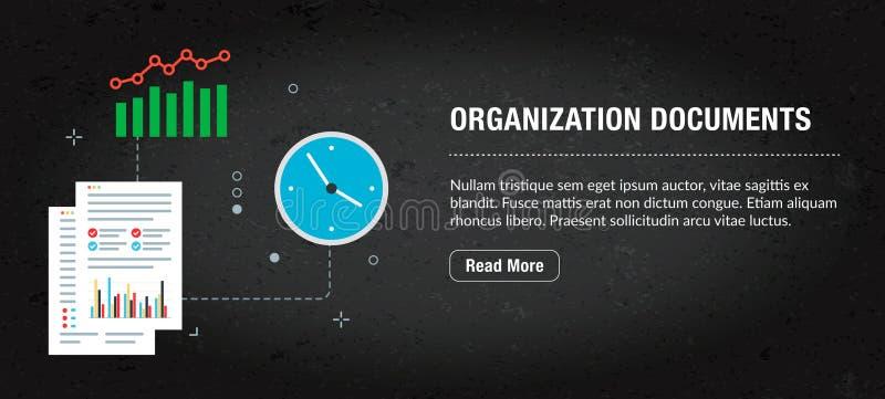 Internet de la bandera del documento de la organización con los iconos en vector stock de ilustración