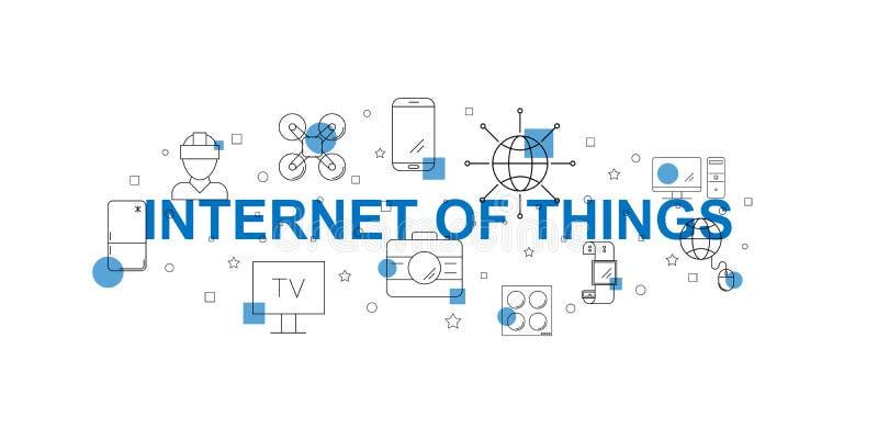 Internet de la bandera del vector de las cosas Palabra con la línea icono libre illustration