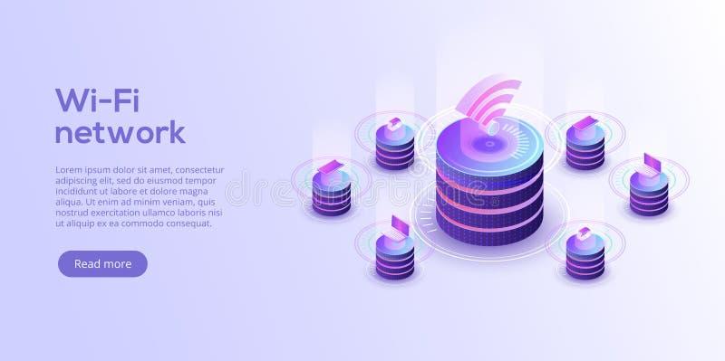 Internet de la disposición de las cosas Sincronización en línea y connec de IOT stock de ilustración