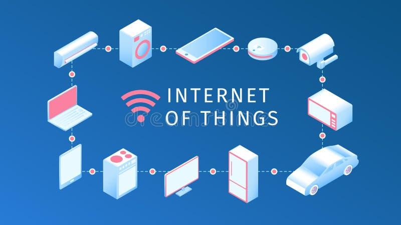 Internet de la disposition de choses Synchronisation en ligne et connec d'IOT illustration de vecteur