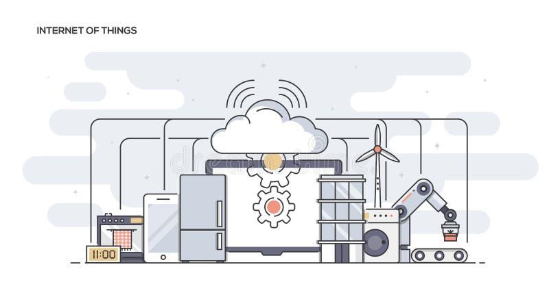 Internet de la línea plana de las cosas diseñó la bandera ilustración del vector