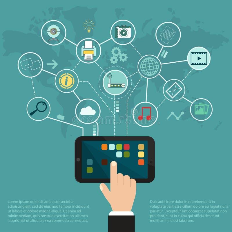 Internet de la tableta, nube de los iconos del uso libre illustration