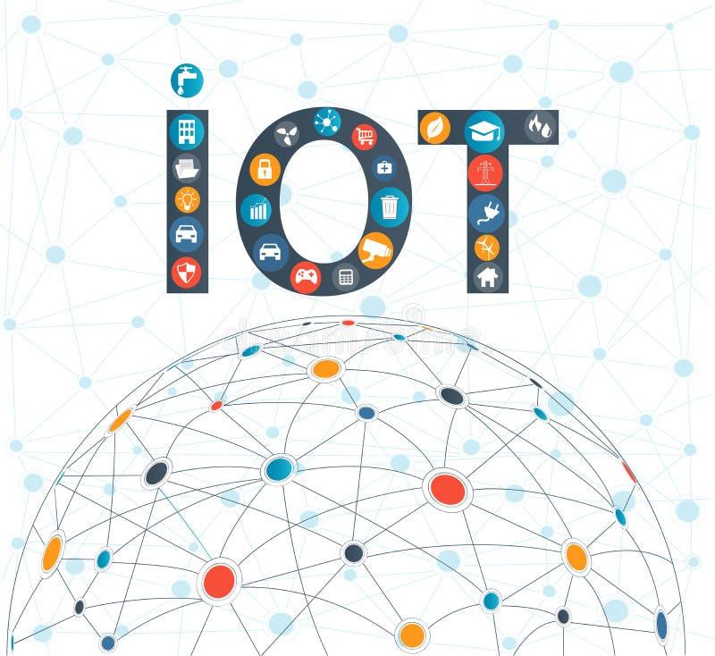 Internet de la tecnología de las cosas concepto y de ordenadores de la nube ilustración del vector