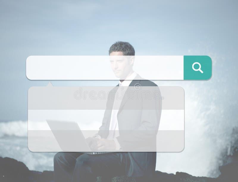Internet de la tecnología del cuadro de búsqueda hojea concepto en línea de la ojeada fotografía de archivo