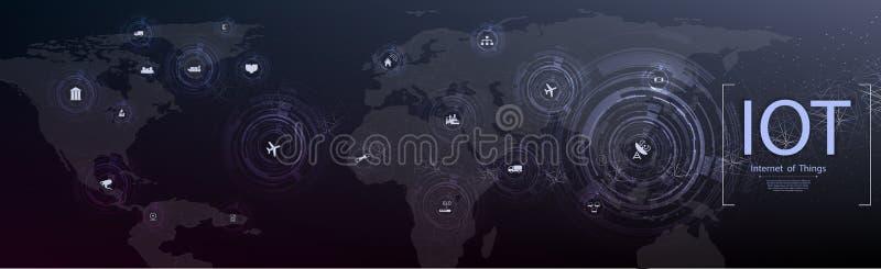 Internet de las cosas IOT, de los dispositivos y de los conceptos de la conectividad en una red, nube en el centro stock de ilustración
