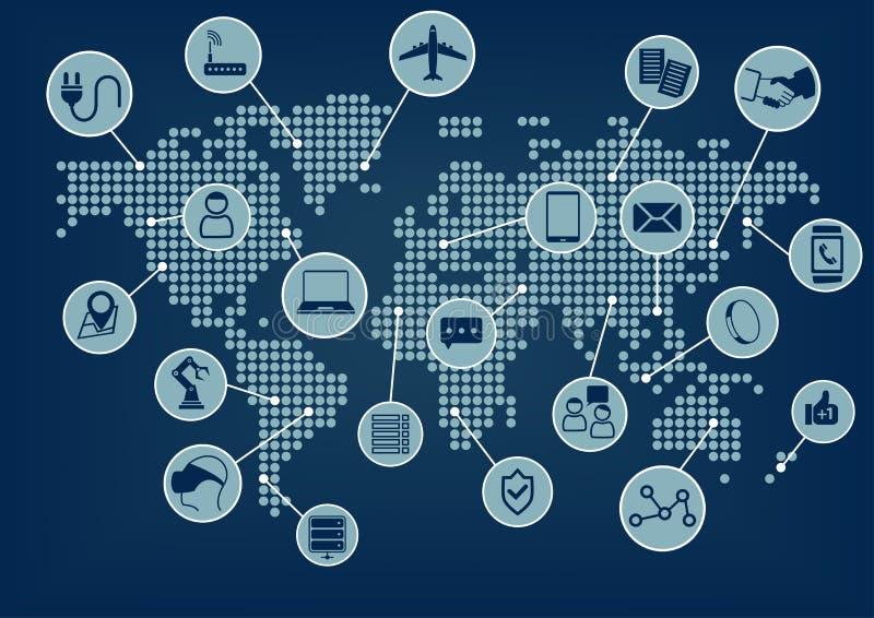 Internet de las cosas (IoT) palabra e iconos con el globo y el mapa del mundo stock de ilustración