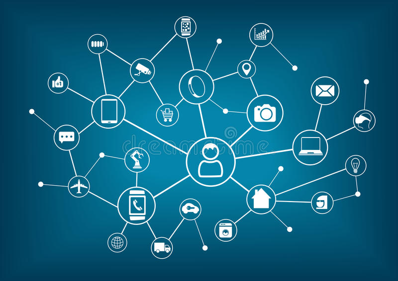 Internet de las cosas (IoT) y del concepto del establecimiento de una red para los dispositivos conectados libre illustration