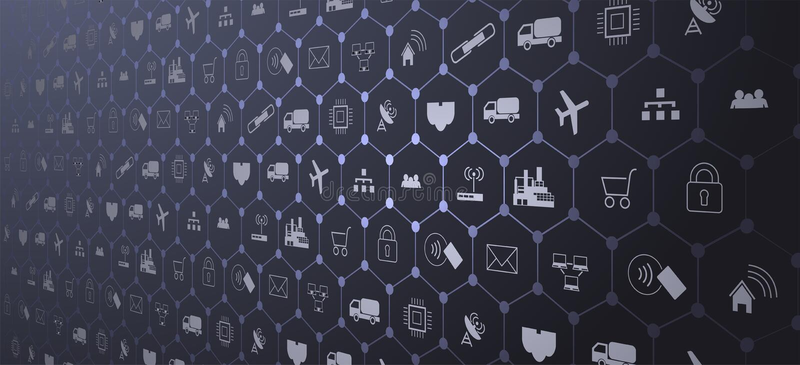Internet de las cosas IoT y del concepto del establecimiento de una red para los dispositivos conectados Web de araña de las cone stock de ilustración