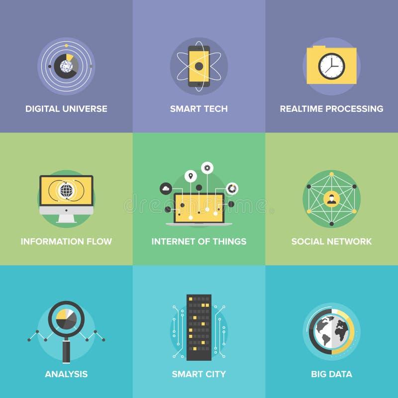 Internet de los iconos planos de las cosas fijados stock de ilustración
