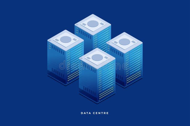 Internet-de materiaalindustrie hosting De technologie van de gegevenstransmissie vector illustratie