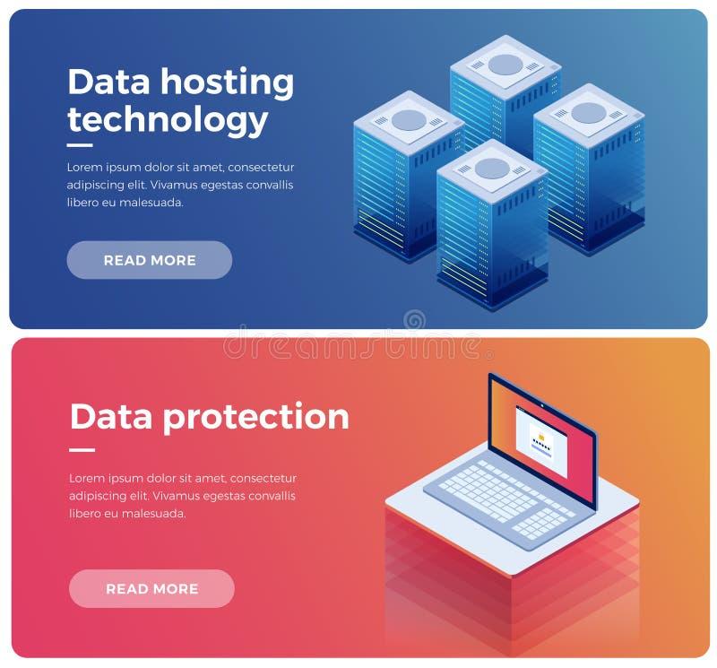 Internet-de materiaalindustrie De technologie en de gegevensbescherming van de gegevenstransmissie Illustratie van de server van  royalty-vrije illustratie