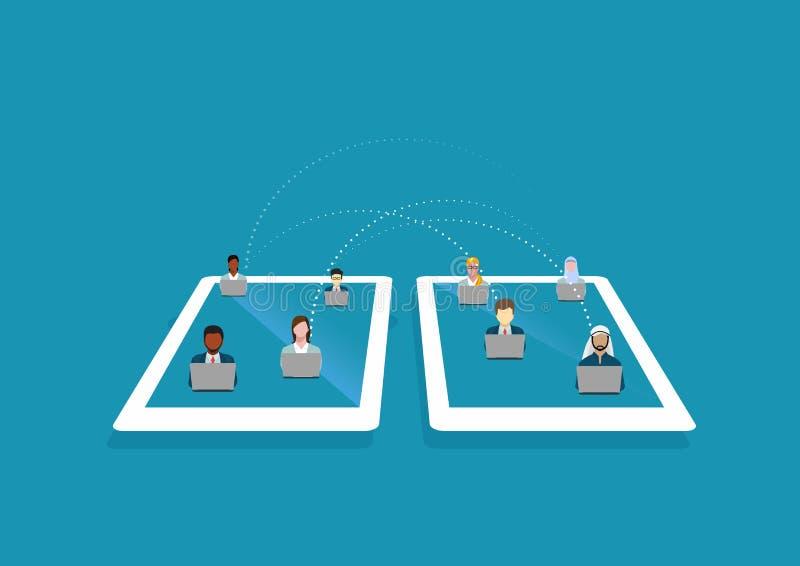 Internet de Smartphone conecta medios sociales con tecnolog?a de red de la gente ilustración del vector