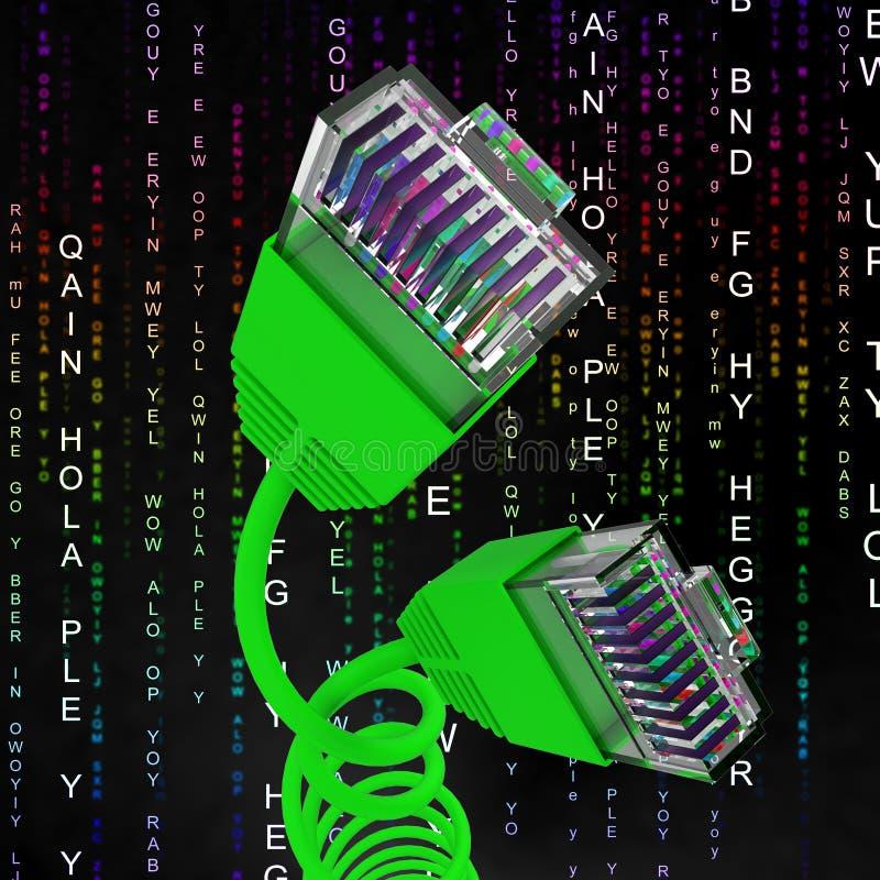 Internet-de Verbinding wijst op World Wide Web en Kabel stock illustratie