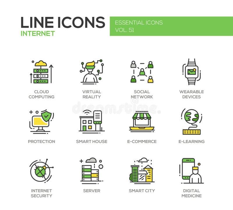 Internet - de vlakke geplaatste pictogrammen van de ontwerplijn royalty-vrije illustratie