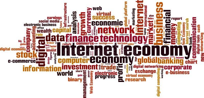 Internet-de wolk van het economiewoord stock illustratie
