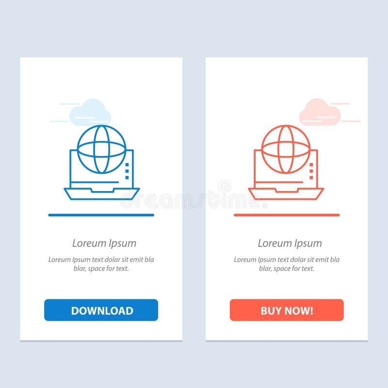 Internet, de Zaken, de Mededeling, de Verbinding, het Netwerk, de Online Blauwe en Rode Download en kopen nu de Kaartmalplaatje v stock illustratie