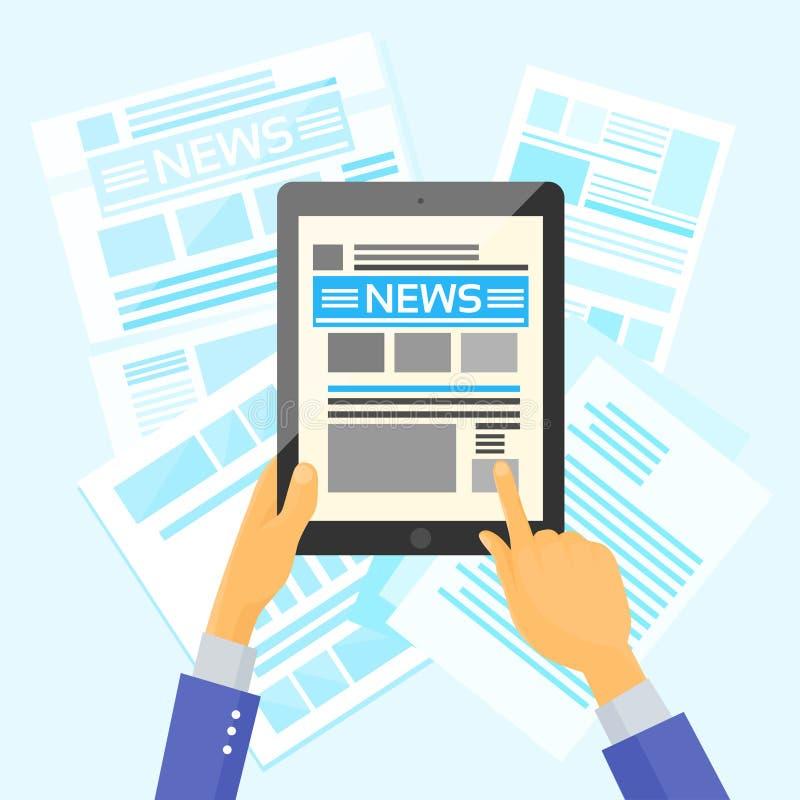 Internet dei giornali dello scrittorio di notizie della compressa della tenuta delle mani illustrazione di stock