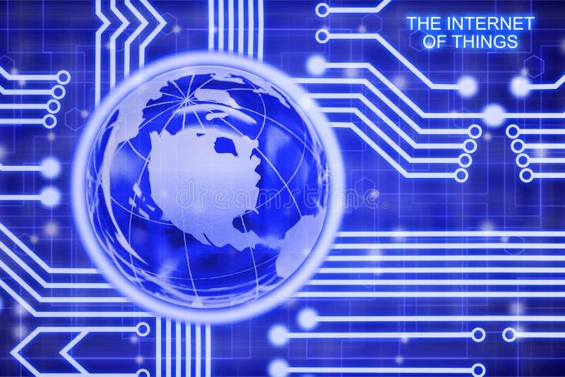 Internet del concepto de las cosas con el globo de cristal ilustración del vector
