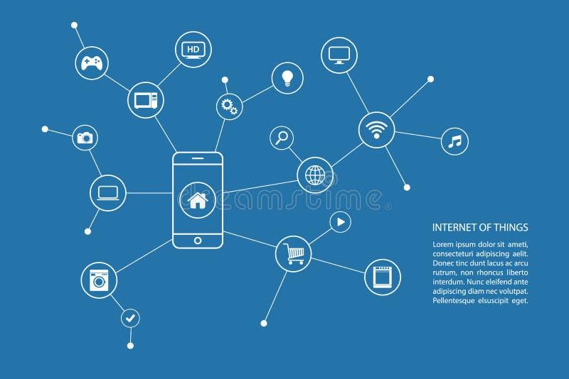 Internet del concepto de las cosas con el teléfono elegante y los iconos blancos ilustración del vector