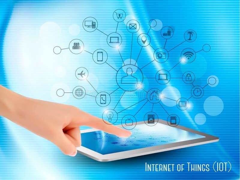 Internet del concepto de las cosas (IoT) ilustración del vector