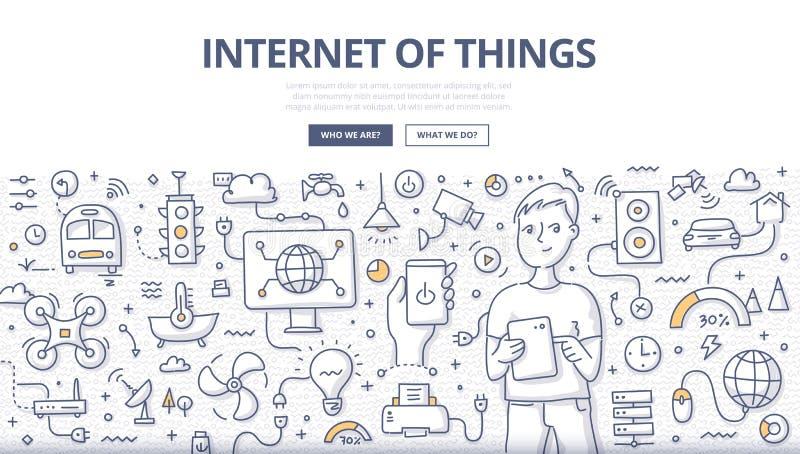 Internet del concepto del garabato de las cosas libre illustration