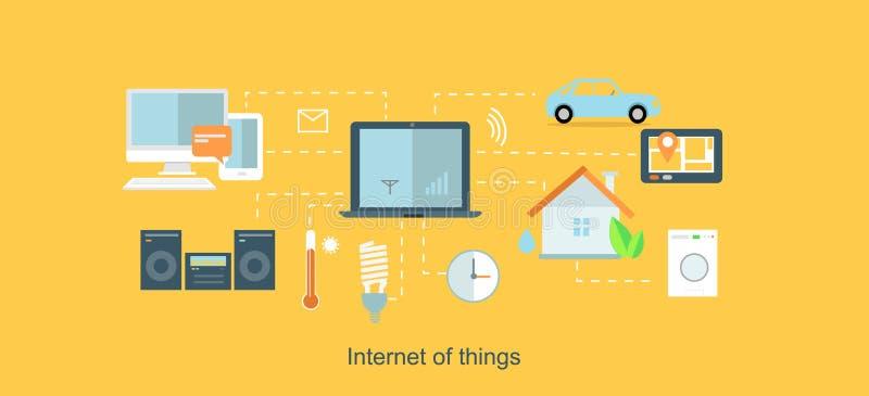 Internet del diseño plano del icono de las cosas libre illustration