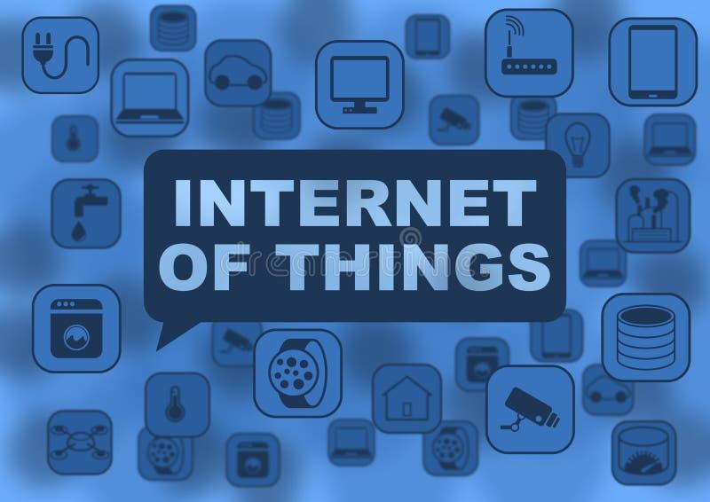 Internet del ejemplo de las cosas con los diversos objetos que vuelan alrededor como los cuadernos, tabletas, relojes elegantes stock de ilustración