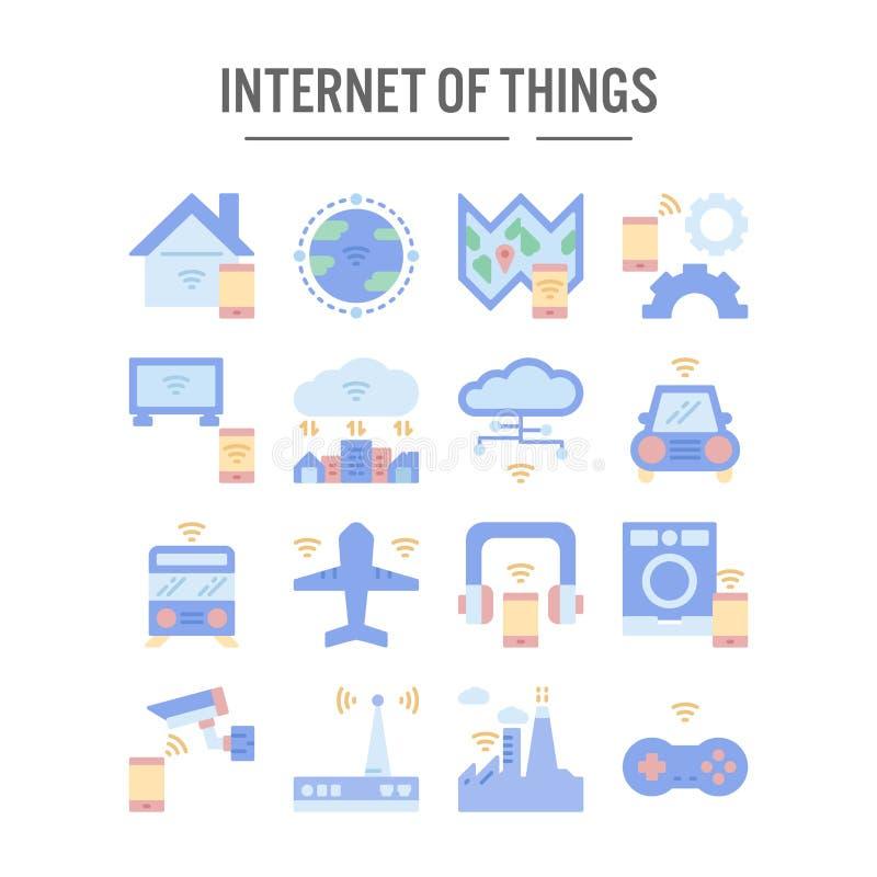 Internet del icono de las cosas en el diseño plano para el diseño web, infographic, presentación, aplicación móvil - ejemplo del  ilustración del vector