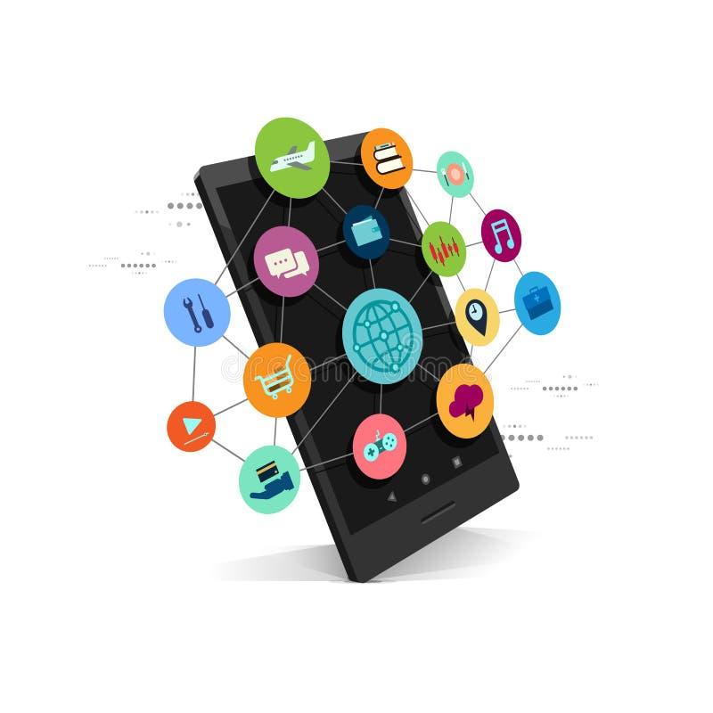 Internet del negocio del smartphone del vector, diseño de concepto del servicio en red de la aplicación móvil stock de ilustración