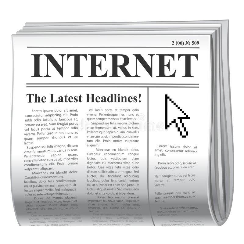 Internet del periódico ilustración del vector
