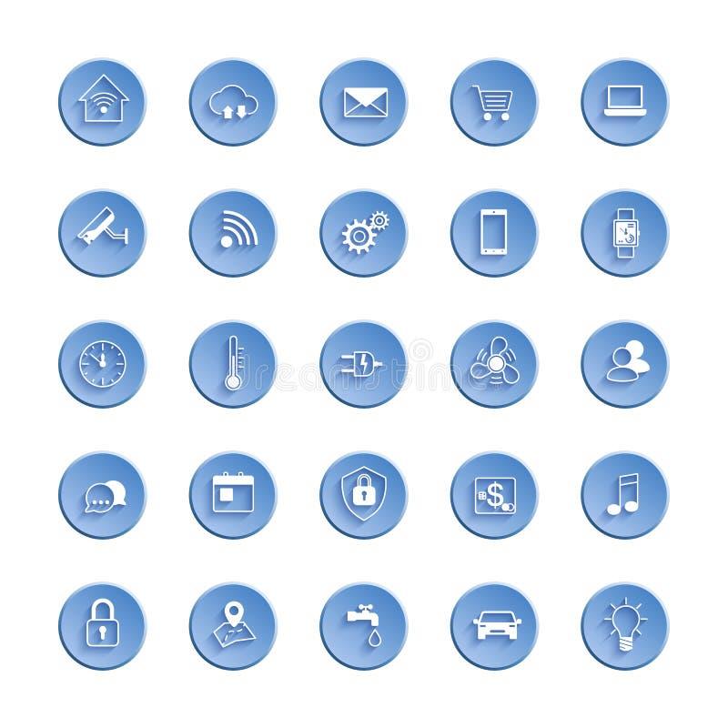 Internet del sistema del icono de la web de las cosas Sistema del icono de sistema de la automatización y de control casero elega ilustración del vector