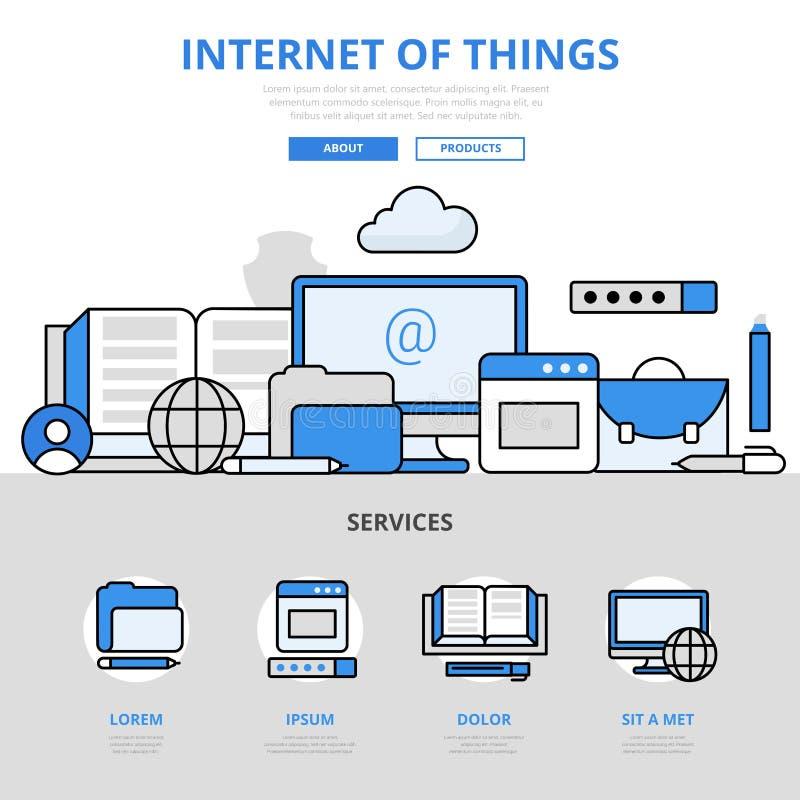 Internet della linea piana icone di concetto digitale di cose di vettore di arte illustrazione di stock