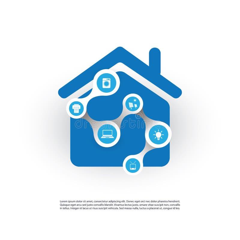 Internet delle cose, della casa di Digital e del concetto di progetto delle reti con le icone illustrazione vettoriale