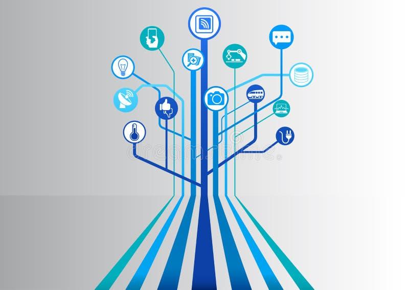 Internet delle cose (IOT) infographic e fondo di tecnologia per i dispositivi collegati illustrazione vettoriale