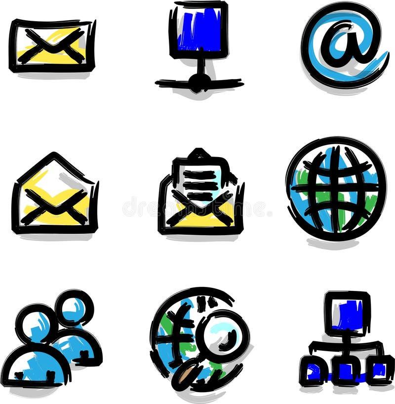 Internet der Web-Ikonenmarkierungsfarben-Form lizenzfreie abbildung