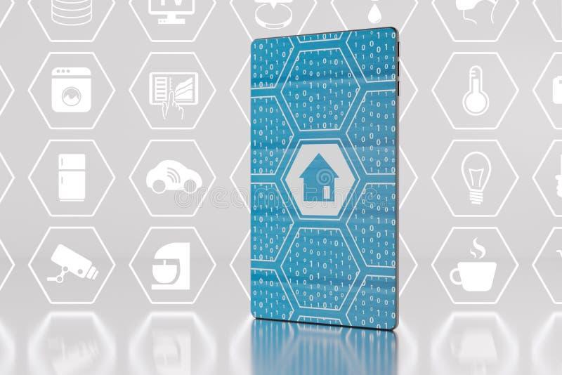Internet des choses et du concept à la maison futé avec le smartphone comme 3d illustration de vecteur