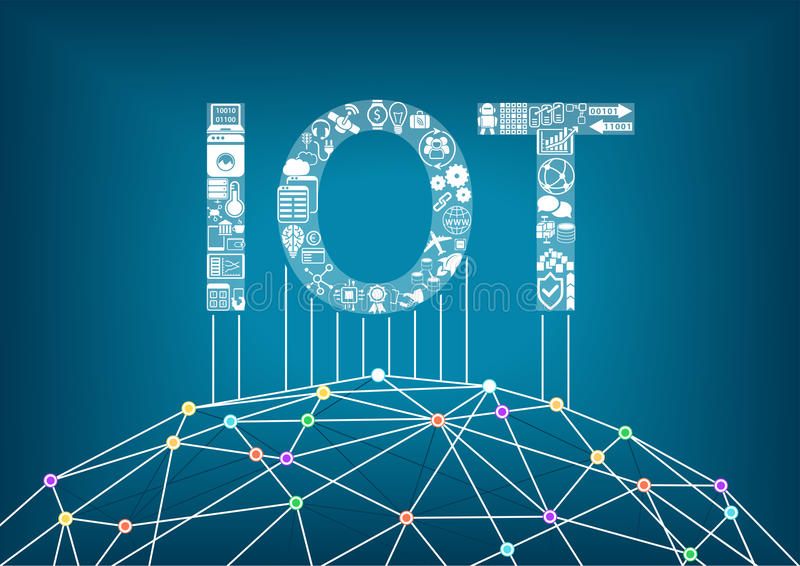 Internet des choses et du concept d'IOT Reliez les appareils sans fil globaux les uns avec les autres illustration de vecteur