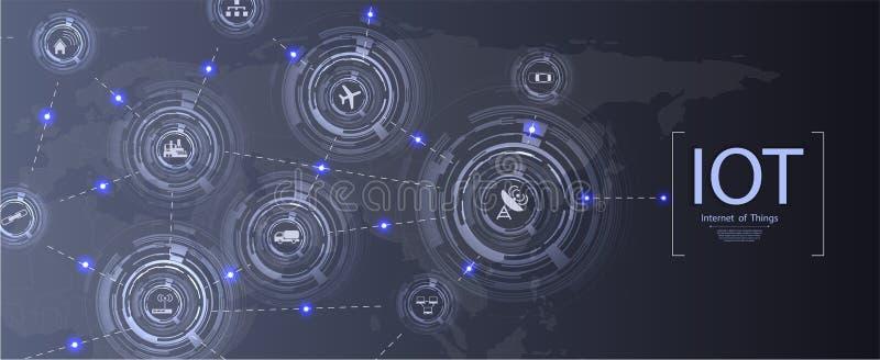 Internet des choses IoT et du concept de mise en réseau pour les dispositifs reliés illustration de vecteur